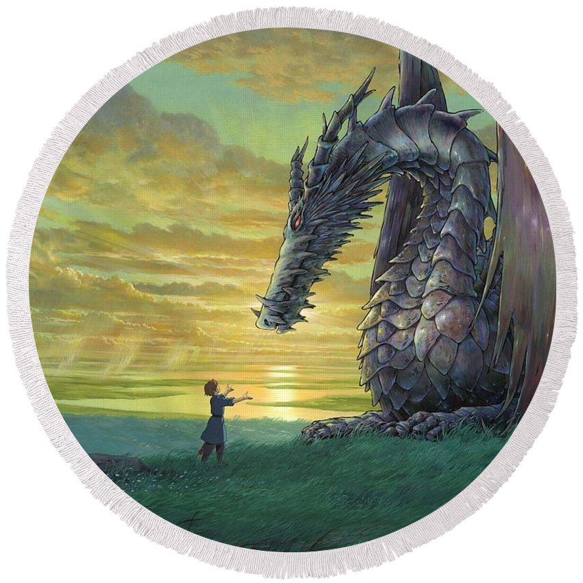Tales From Earthsea Round Beach Towel featuring the digital art Tales From Earthsea by Mery Moon