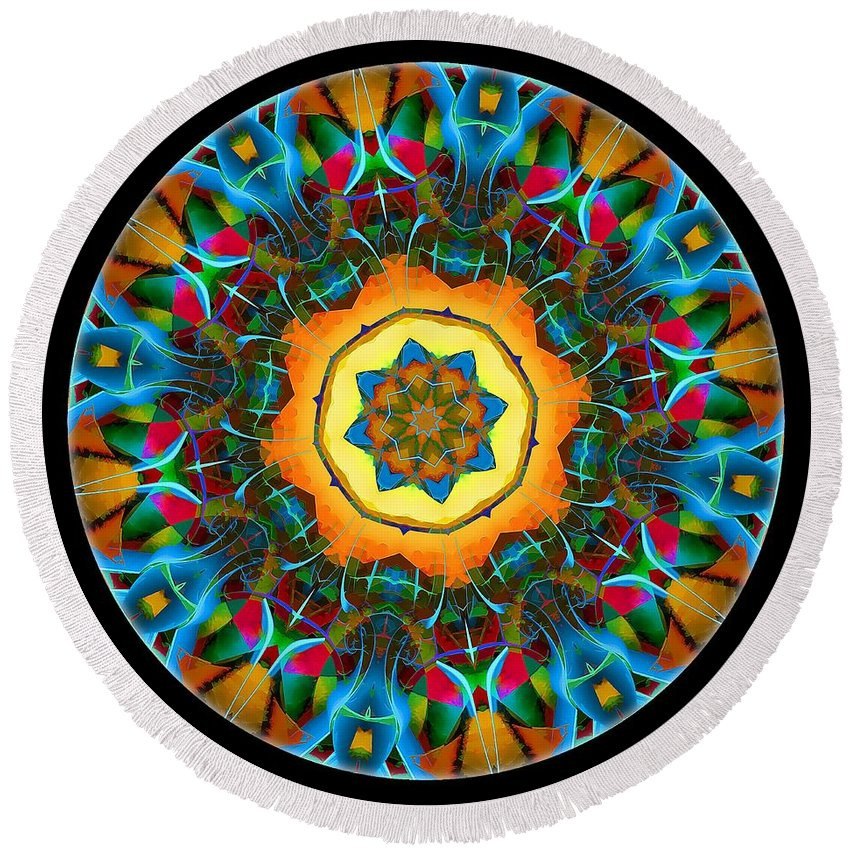 Talisman Round Beach Towel featuring the digital art Talisman 3582 by Marek Lutek