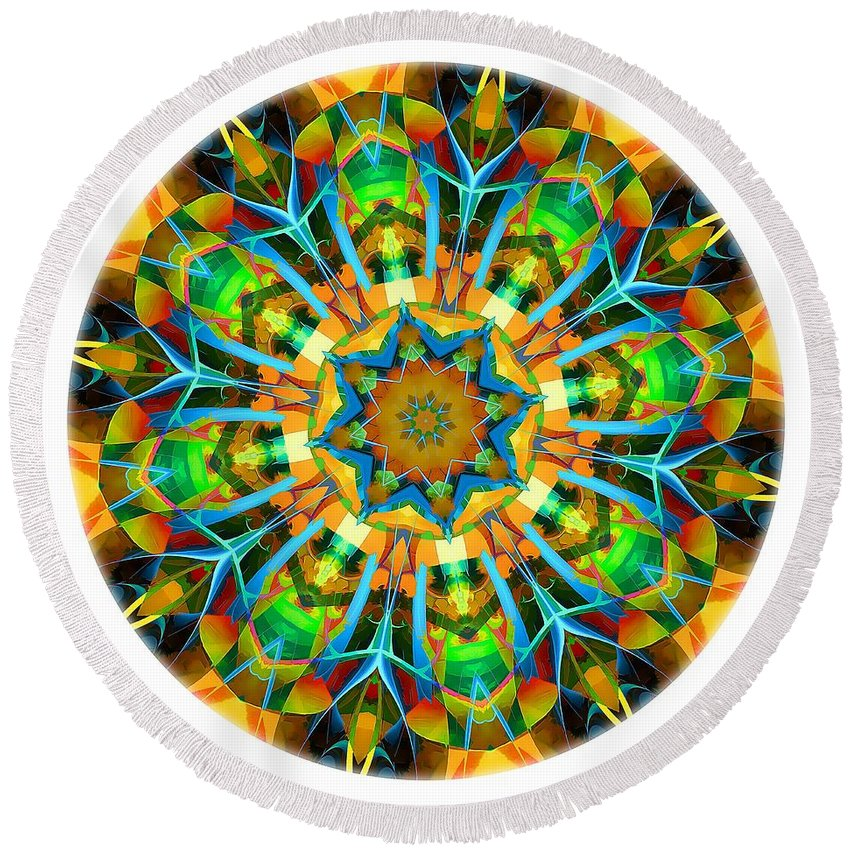 Talisman Round Beach Towel featuring the digital art Talisman 3583 by Marek Lutek
