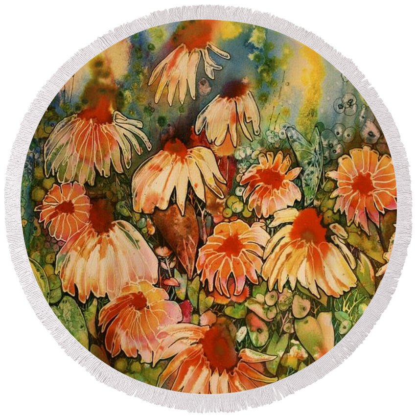 Floral Round Beach Towel featuring the painting Talking Heads by Shirley Sykes Bracken