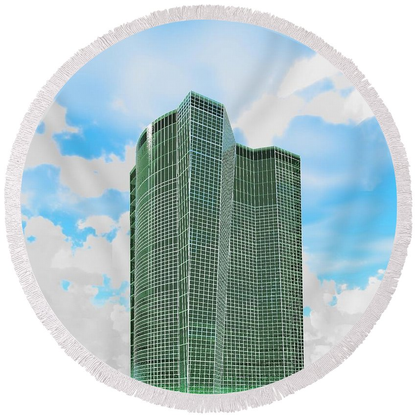 Building Rendering Round Beach Towel featuring the digital art Tall And Green by Ron Bissett