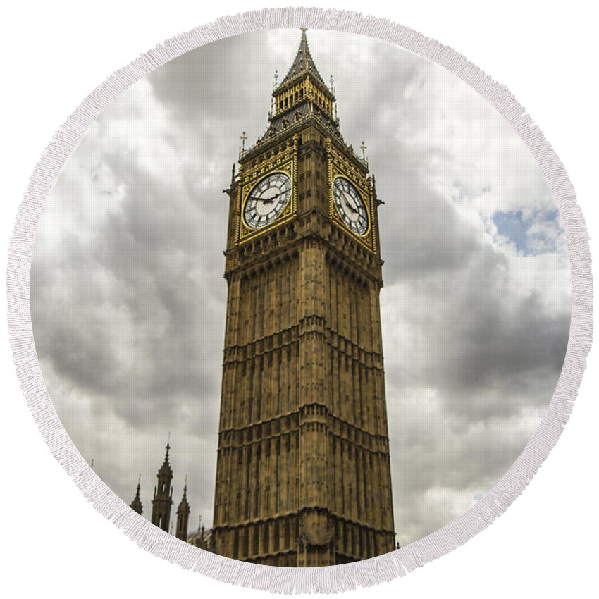 Brown Round Beach Towel featuring the photograph Tall Big Ben by Suanne Forster