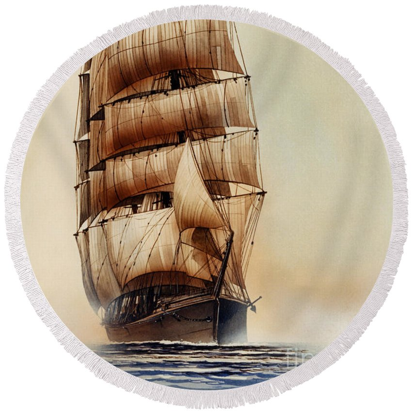 Tall Ship Print Round Beach Towel featuring the painting Tall Ship Carradale by James Williamson