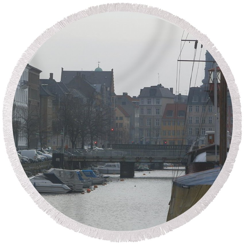 Europe Round Beach Towel featuring the photograph Tall Ship Of Copenhagen by Margaret Brooks