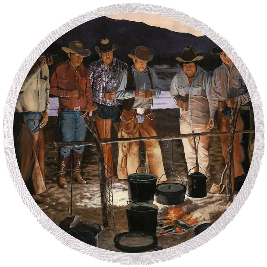 Arizona Round Beach Towel featuring the painting Tall Tales by Mary Rogers