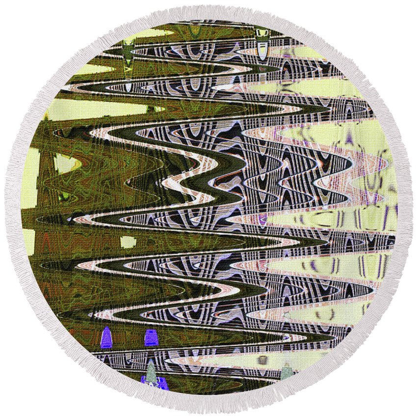 Tall Tempe Building Abstract Round Beach Towel featuring the photograph Tall Tempe Building Abstract by Tom Janca