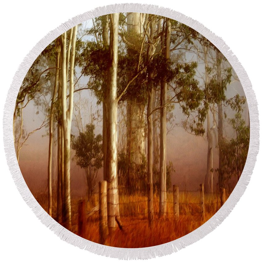 Landscape Round Beach Towel featuring the photograph Tall Timbers by Holly Kempe