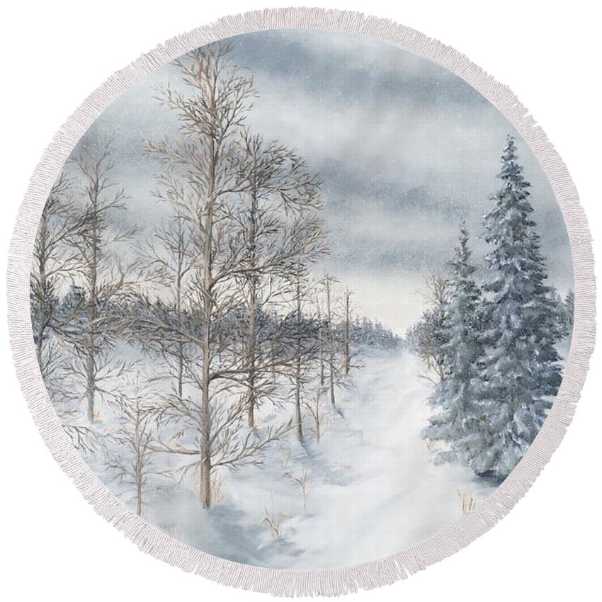 Landscape Round Beach Towel featuring the painting Tamarack Swamp In Winter 2 by J O Huppler