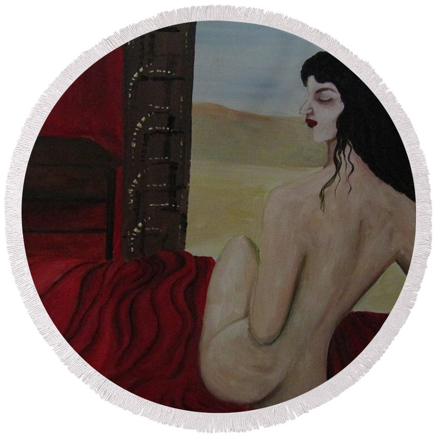 Women Round Beach Towel featuring the painting Tamed by Romelette Metz