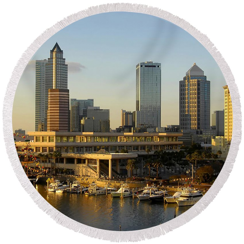Tampa Bay Florida Round Beach Towel featuring the photograph Tampa Bay And Gasparilla by David Lee Thompson