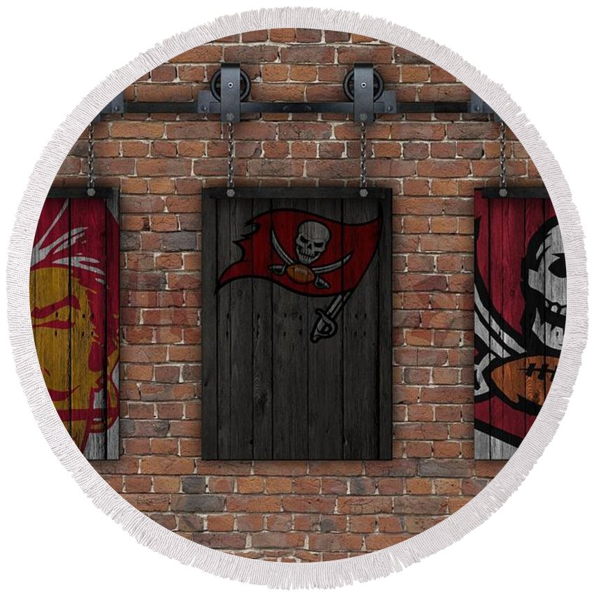 Tampa Bay Buccaneers Round Beach Towel featuring the photograph Tampa Bay Buccaneers Brick Wall by Joe Hamilton