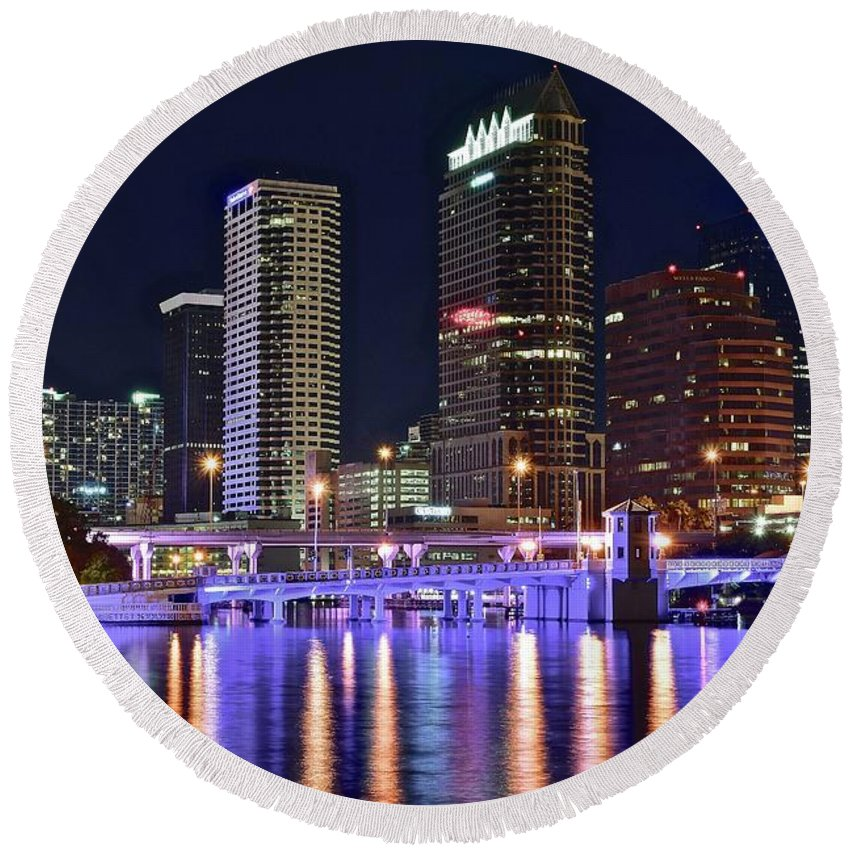 Tampa Round Beach Towel featuring the photograph Tampa Bay Nightscape by Frozen in Time Fine Art Photography
