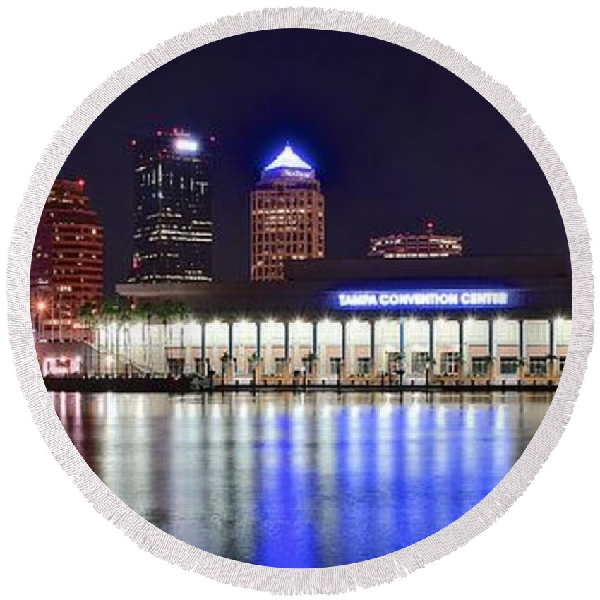 Tampa Round Beach Towel featuring the photograph Tampa Bay Panorama by Frozen in Time Fine Art Photography