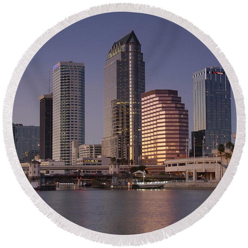 Tampa Florida Round Beach Towel featuring the photograph Tampa Florida by David Lee Thompson