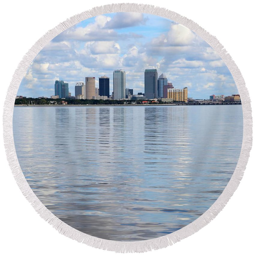 Tampa Round Beach Towel featuring the photograph Tampa Skyline Over The Bay by Carol Groenen