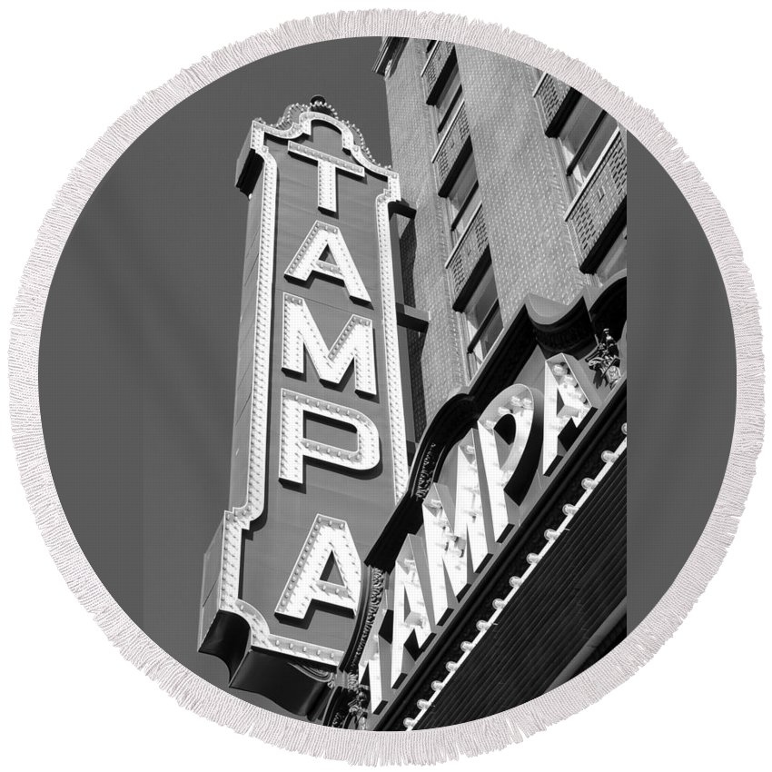 Tampa Florida Round Beach Towel featuring the photograph Tampa Theatre Bw by David Lee Thompson
