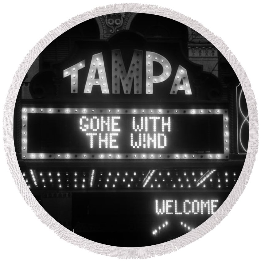 Tampa Theatre Round Beach Towel featuring the photograph Tampa Theatre 1939 by David Lee Thompson