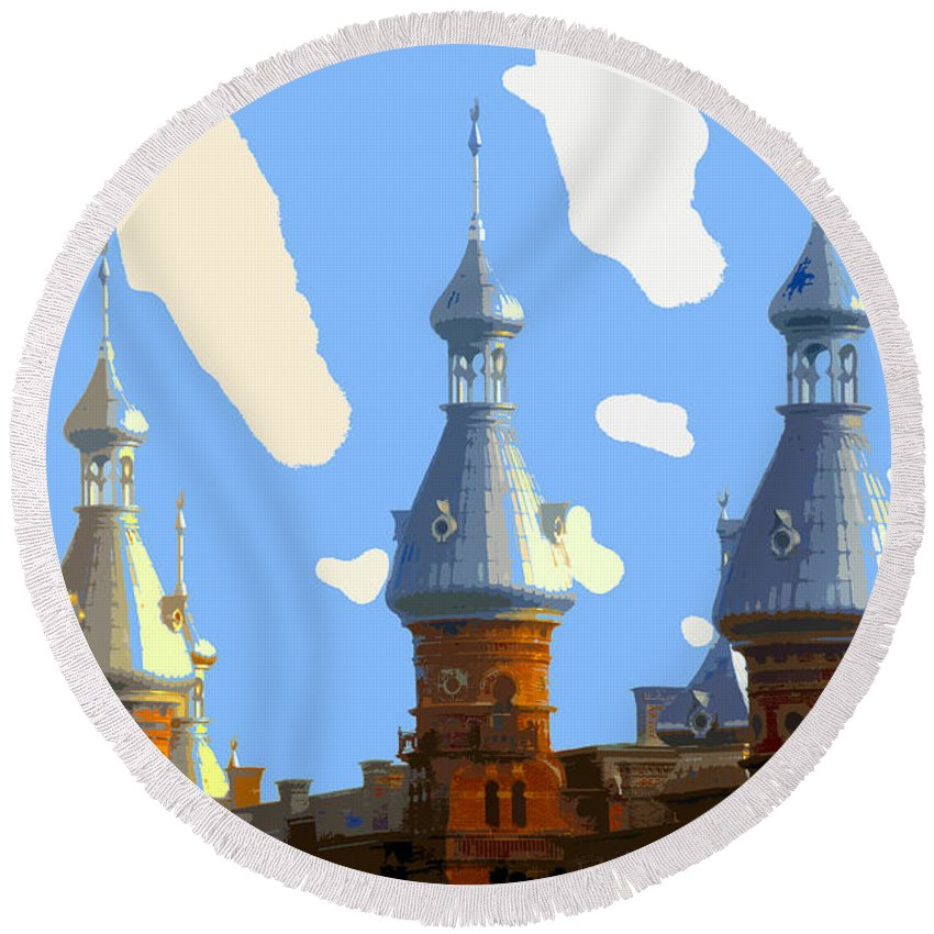 Tampa Florida Round Beach Towel featuring the painting Tampa's Minarets by David Lee Thompson