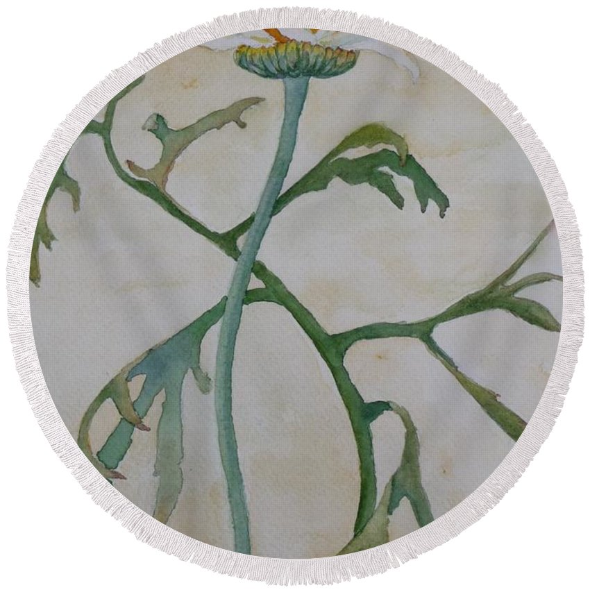 Flower Round Beach Towel featuring the painting Tanacetum by Ruth Kamenev