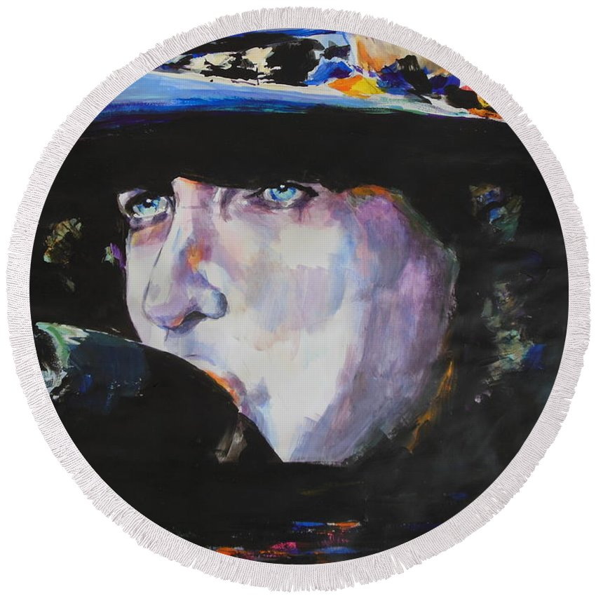 Bob Dylan Round Beach Towel featuring the painting Tangled In Blue by Lucia Hoogervorst