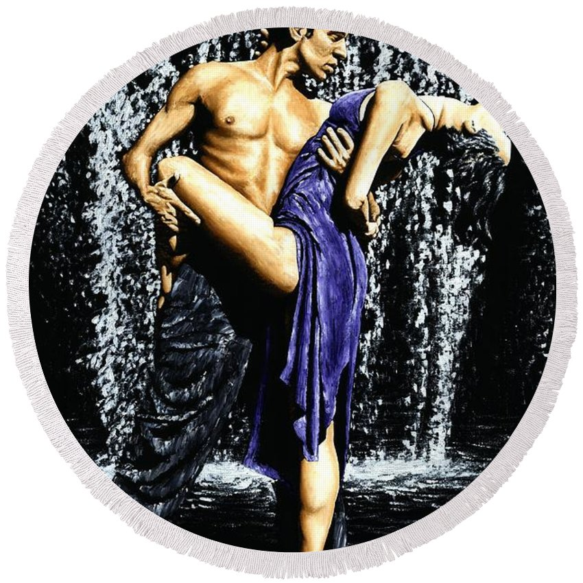 Tango Round Beach Towel featuring the painting Tango Cascade by Richard Young