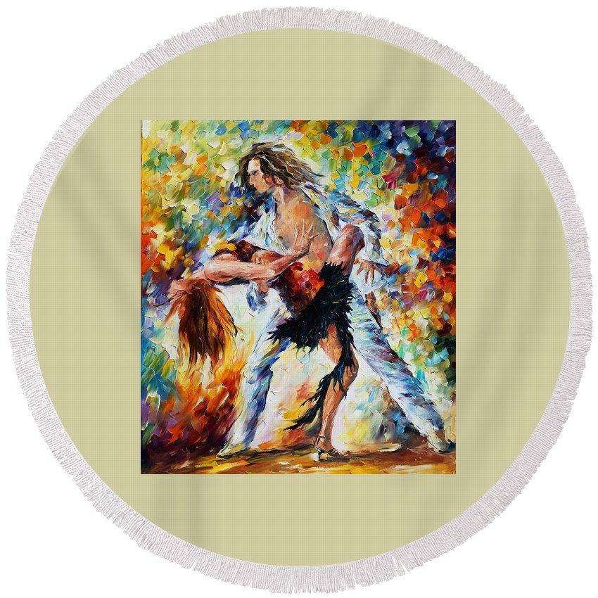 Afremov Round Beach Towel featuring the painting Tango's Love by Leonid Afremov