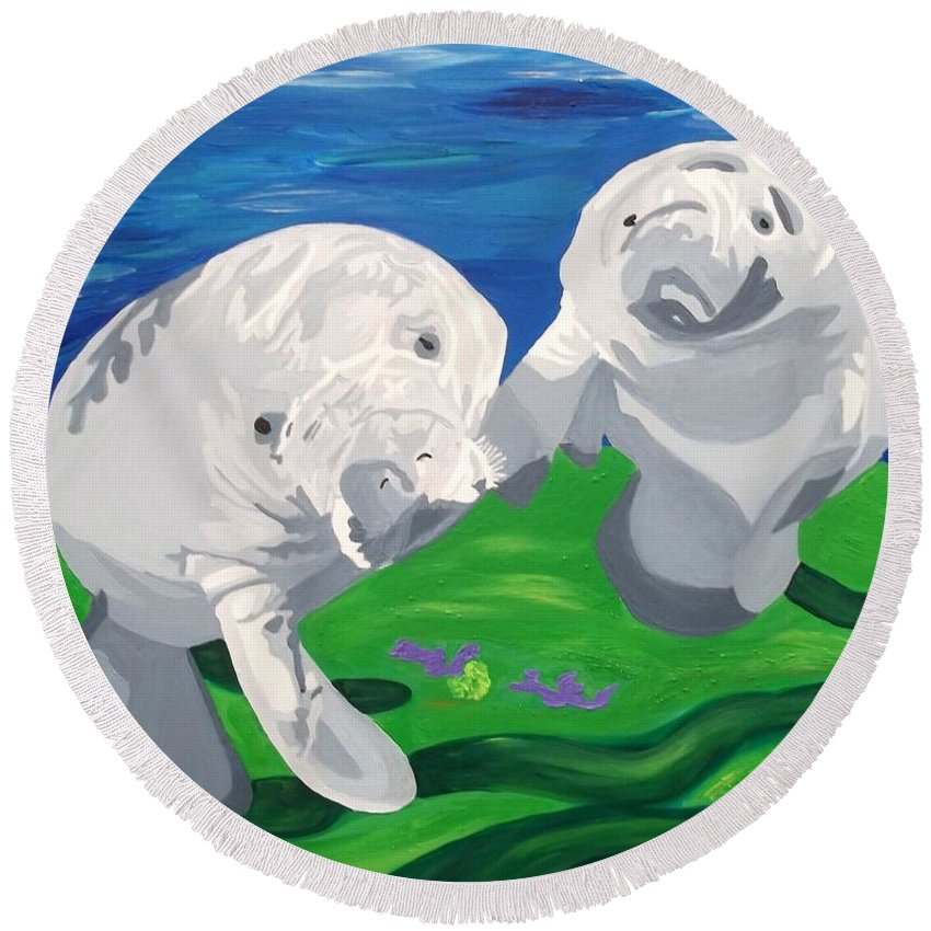 Manatee Round Beach Towel featuring the painting Tanio Curiosity by Amy Pugh