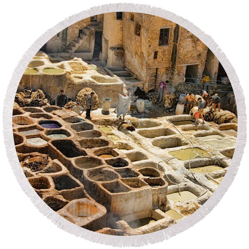 Fes Round Beach Towel featuring the photograph Tanneries Of Fes Morroco by David Smith