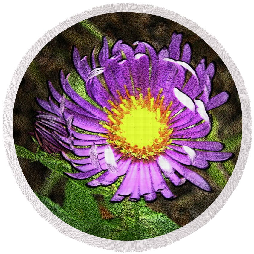 Flower Round Beach Towel featuring the photograph Tansyleaf Aster by Donna Brown
