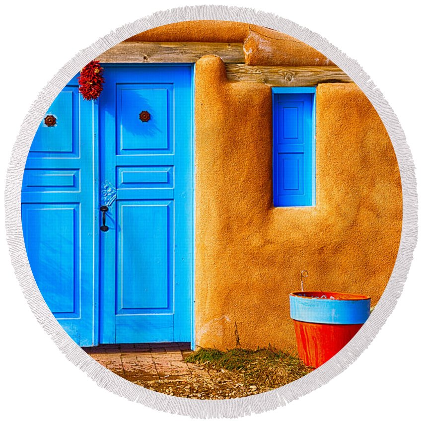 2015 Round Beach Towel featuring the photograph Taos Doorway by Jerry Fornarotto