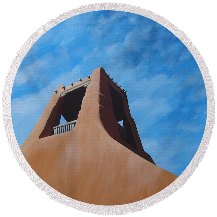 Taos Round Beach Towel featuring the painting Taos Memory by Hunter Jay