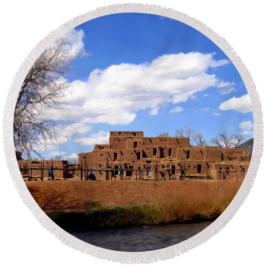 Taos Round Beach Towel featuring the photograph Taos Pueblo Early Spring by Kurt Van Wagner