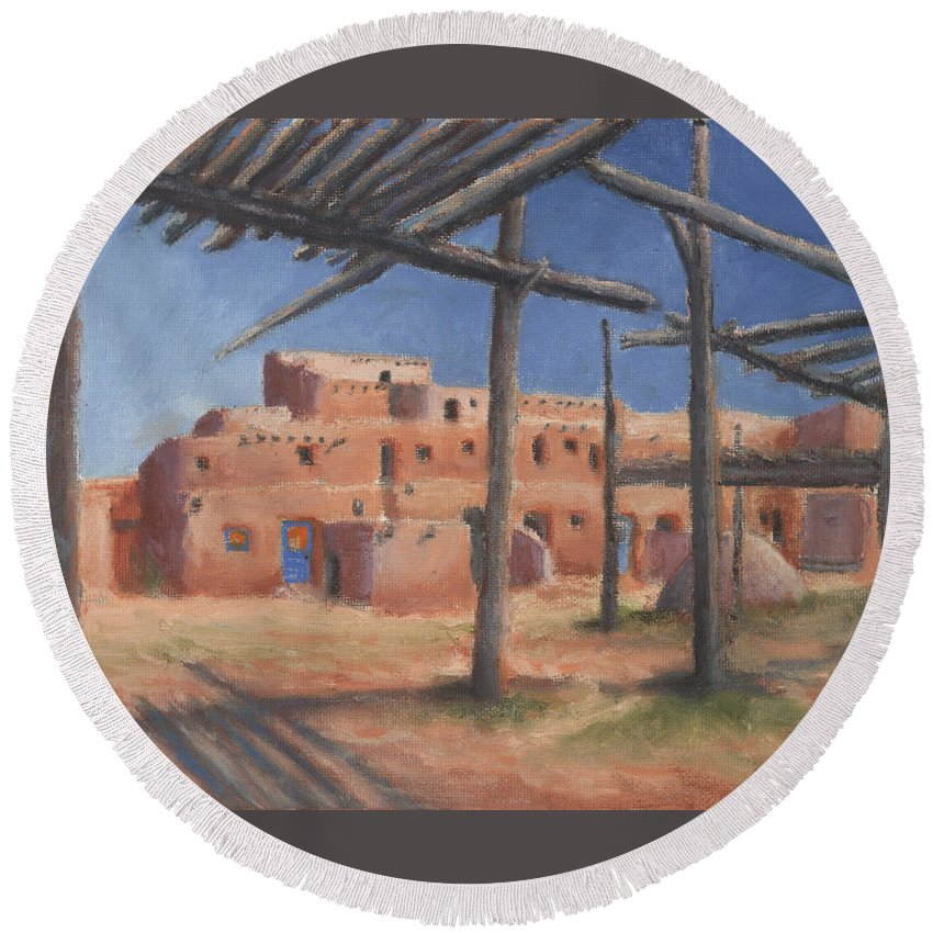 Taos Round Beach Towel featuring the painting Taos Pueblo by Jerry McElroy
