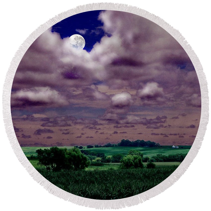 Landscape Round Beach Towel featuring the photograph Tarkio Moon by Steve Karol