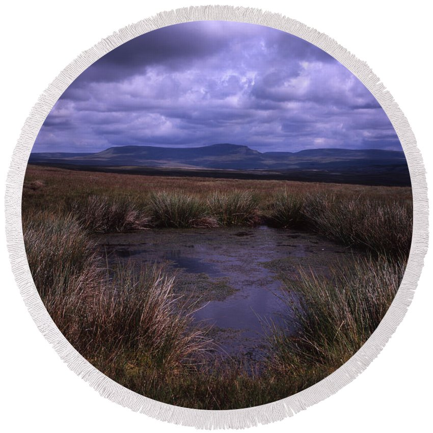 Whernside Round Beach Towel featuring the photograph Tarn On The Slopes Of Whernside With Pen-y-ghent On The Horizon Yorkshire Dales England by Michael Walters