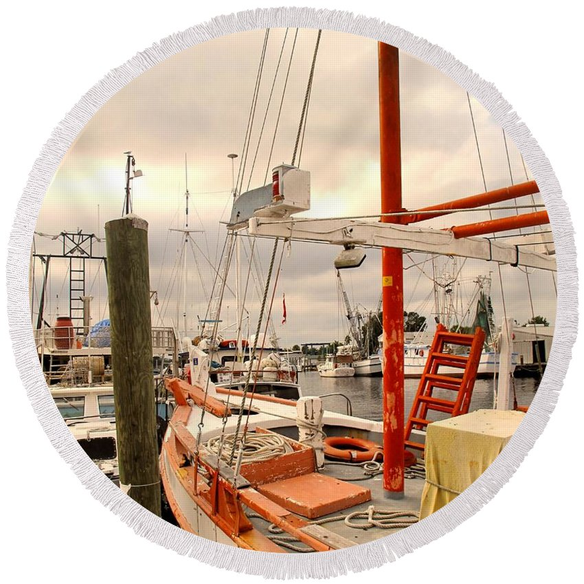 Florida Round Beach Towel featuring the photograph Tarpon Springs Harbor by Ian MacDonald