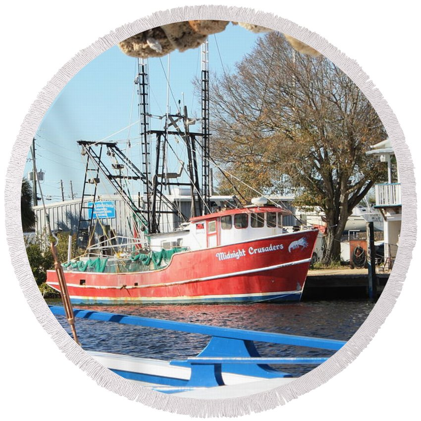 Tarpon Springs Round Beach Towel featuring the photograph Tarpon Springs Shrimp Boat by Carol Groenen