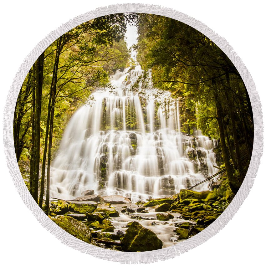 Tasmania Round Beach Towel featuring the photograph Tasmanian Waterfalls by Jorgo Photography - Wall Art Gallery