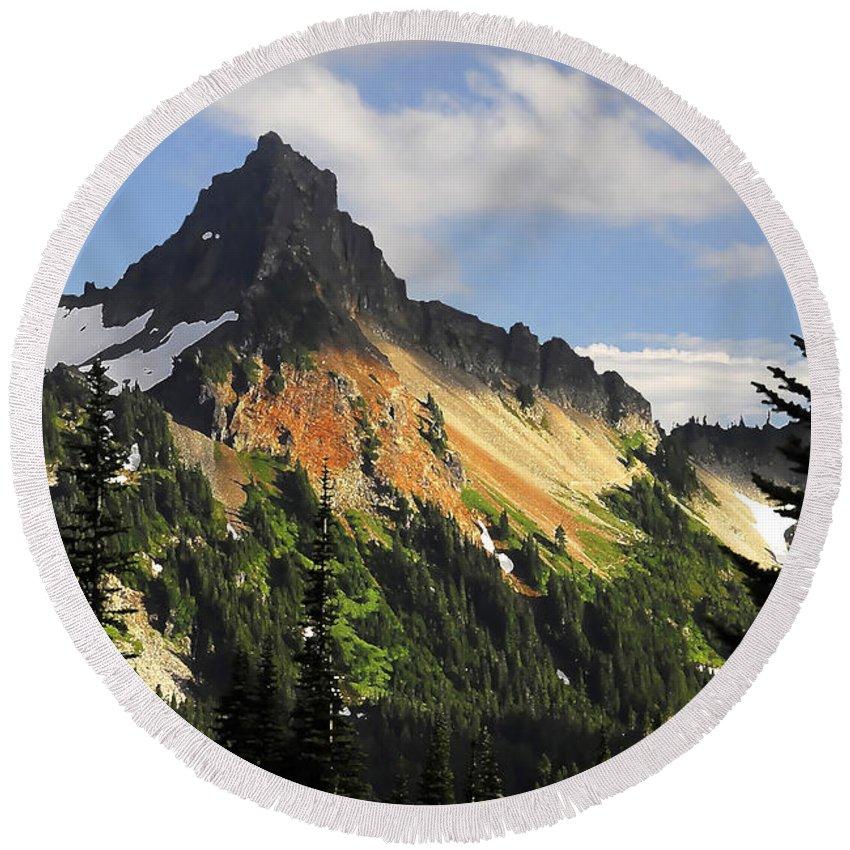 Mountains Round Beach Towel featuring the photograph Tatosh Range by David Lee Thompson