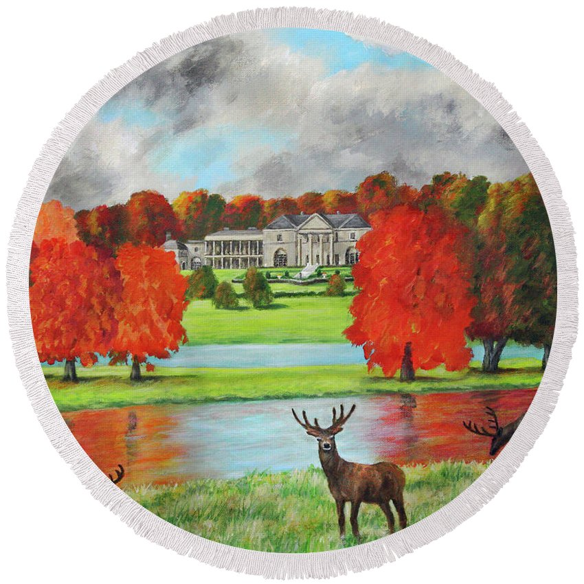Tatton Hall Round Beach Towel featuring the painting Tatton Hall In Autumn by Ronald Haber