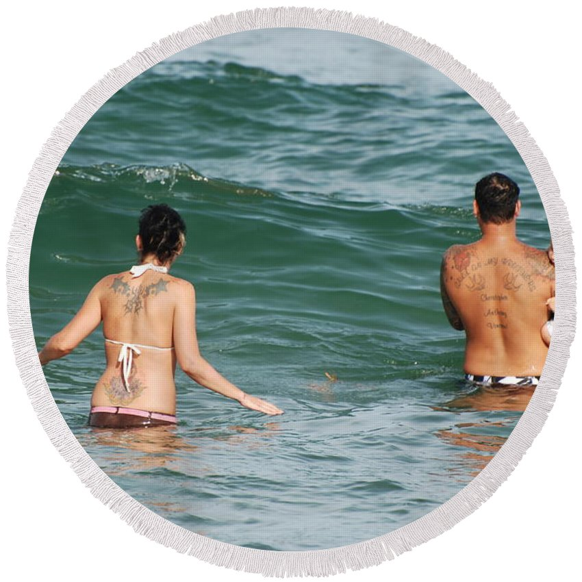 Sea Scape Round Beach Towel featuring the photograph Tattoo Family by Rob Hans