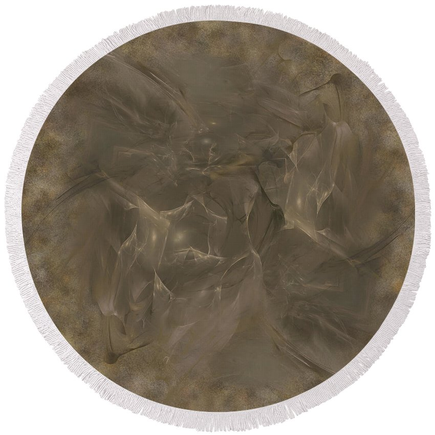 Abstract Round Beach Towel featuring the digital art Taupe Fractal Composition by Diane Parnell