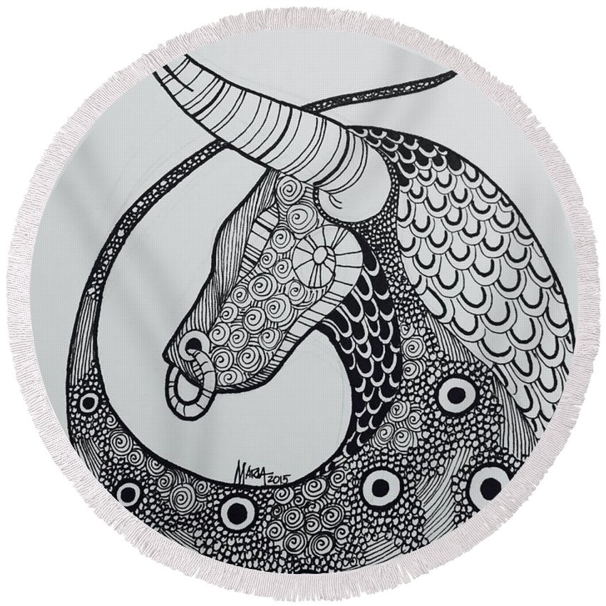 Zodiac Round Beach Towel featuring the drawing Taurus by Maria Leah Comillas