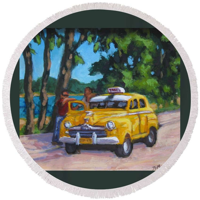 Old Cars Round Beach Towel featuring the painting Taxi Y Amigos by John Malone
