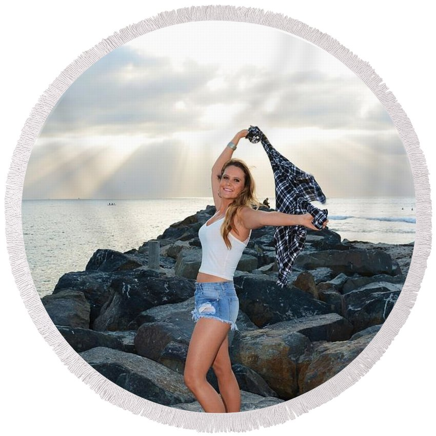 Fashion Round Beach Towel featuring the photograph Taylor 021 by Remegio Dalisay