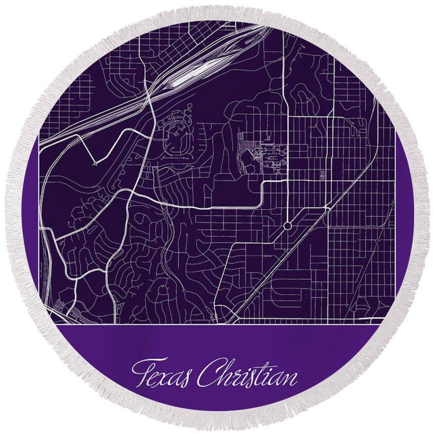 Road Map Round Beach Towel featuring the digital art Tcu Street Map - Texas Christian University Fort Worth Map by Jurq Studio