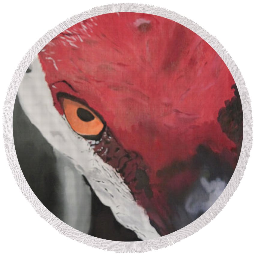 Oil Painting Round Beach Towel featuring the painting Te Veo by D Turner