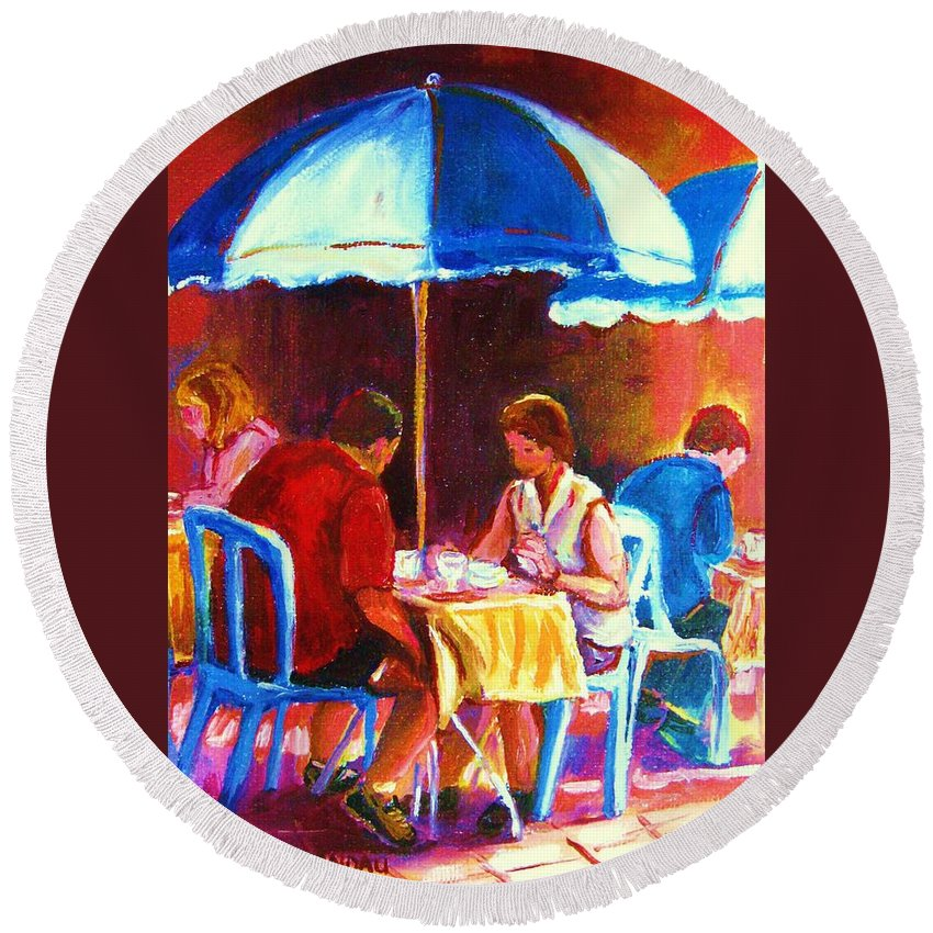 St. Denis Outdoor Cafe Montreal Street Scenes Round Beach Towel featuring the painting Tea For Two by Carole Spandau