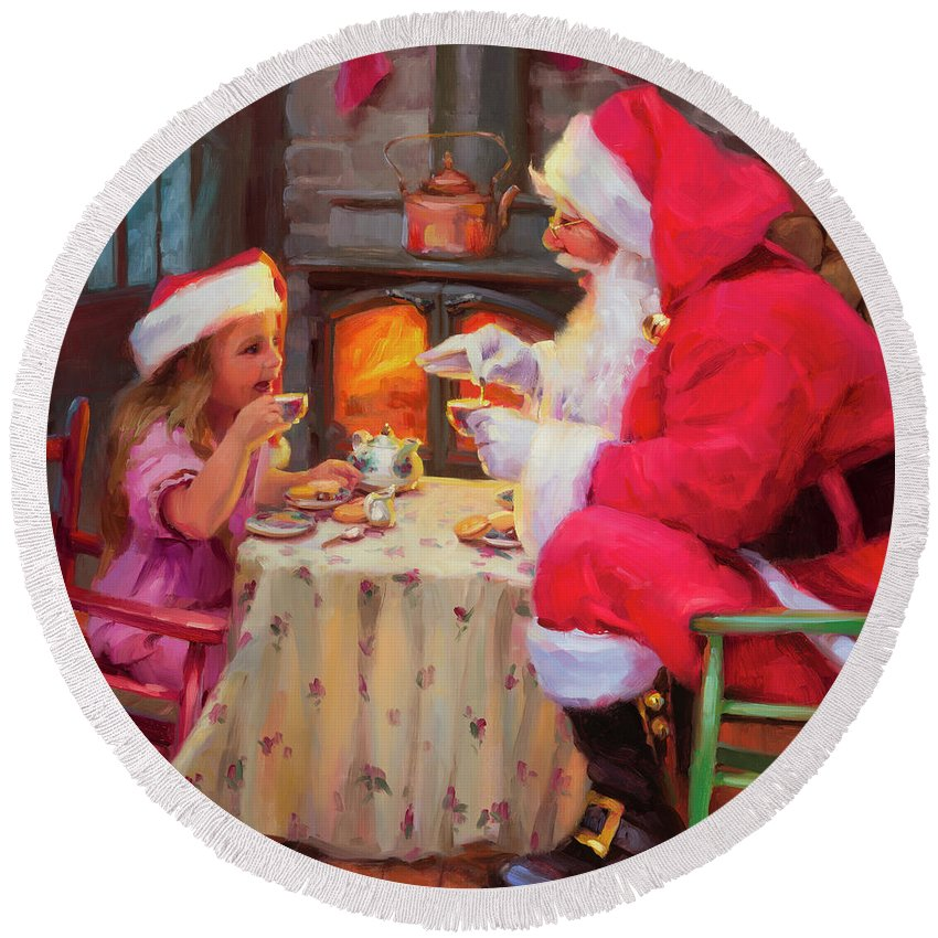 Christmas Round Beach Towel featuring the painting Tea For Two by Steve Henderson