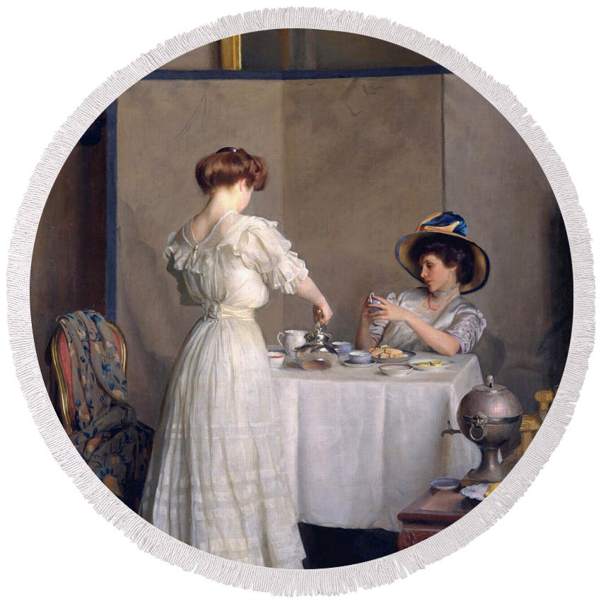 William Mcgregor Paxton Round Beach Towel featuring the painting Tea Leaves by William McGregor Paxton